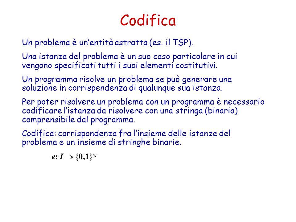 Codifica Un problema è un'entità astratta (es. il TSP). Una istanza del problema è un suo caso particolare in cui vengono specificati tutti i suoi ele