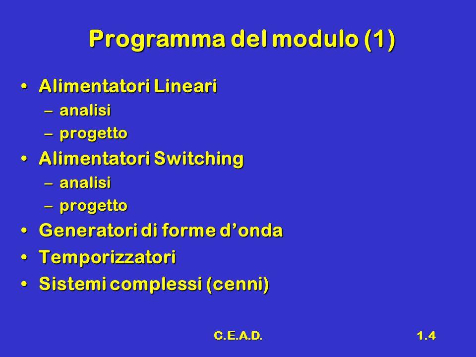 C.E.A.D.1.5 Programma del modulo (2) Sistemi lineariSistemi lineari Classificazione degli amplificatoriClassificazione degli amplificatori –Classe A –Classe B –Classe A-B –Classe C –Classe D –Classe E Analisi e ProgettoAnalisi e Progetto Convertitori A/D e D/AConvertitori A/D e D/A
