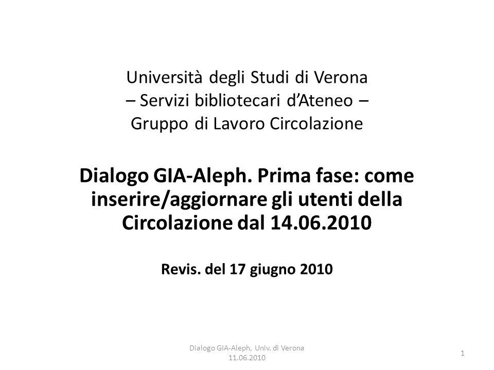 1 Dialogo GIA-Aleph, Univ. di Verona 11.06.2010 Università degli Studi di Verona – Servizi bibliotecari d'Ateneo – Gruppo di Lavoro Circolazione Dialo