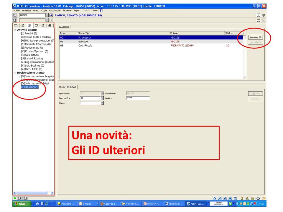 11 Dialogo GIA-Aleph, Univ. di Verona 11.06.2010 Una novità: Gli ID ulteriori