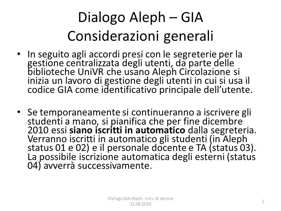 2 Dialogo GIA-Aleph, Univ. di Verona 11.06.2010 Dialogo Aleph – GIA Considerazioni generali In seguito agli accordi presi con le segreterie per la ges