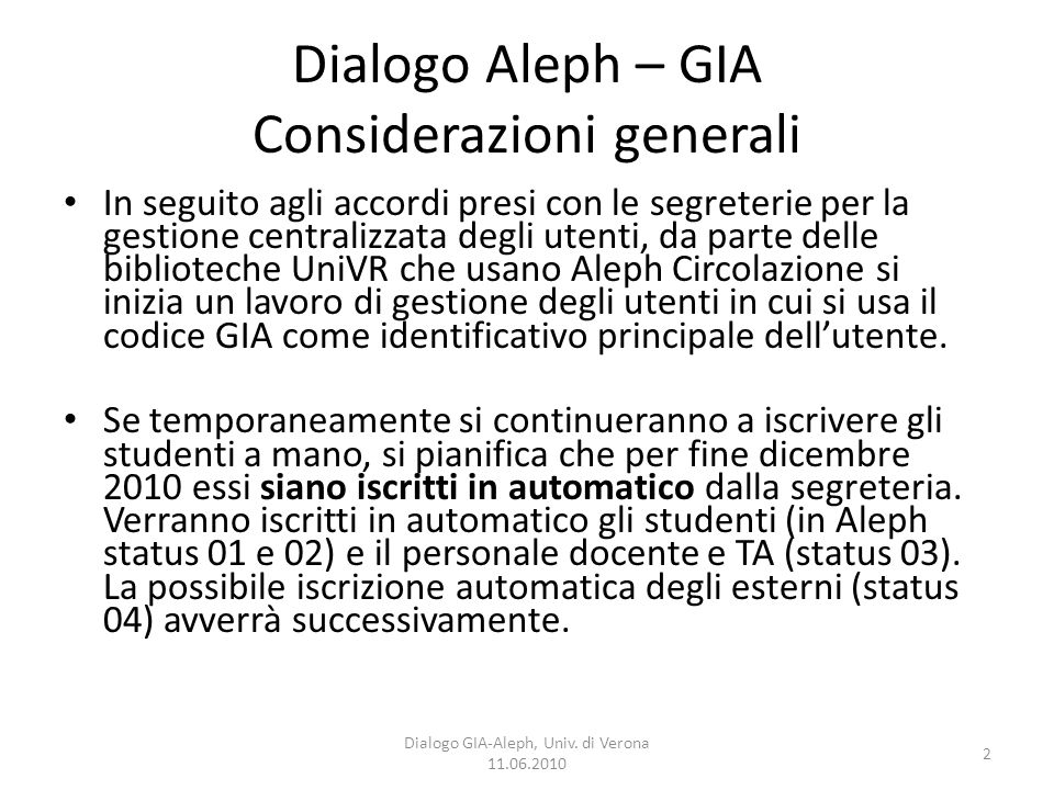 2 Dialogo GIA-Aleph, Univ.