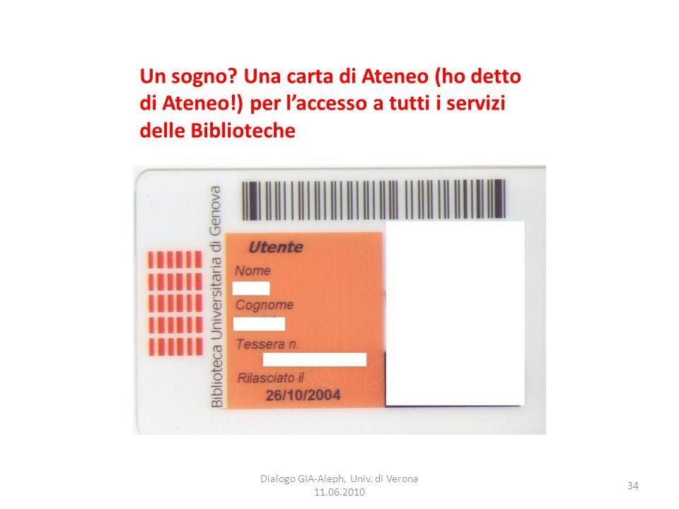 34 Dialogo GIA-Aleph, Univ. di Verona 11.06.2010 Un sogno? Una carta di Ateneo (ho detto di Ateneo!) per l'accesso a tutti i servizi delle Biblioteche