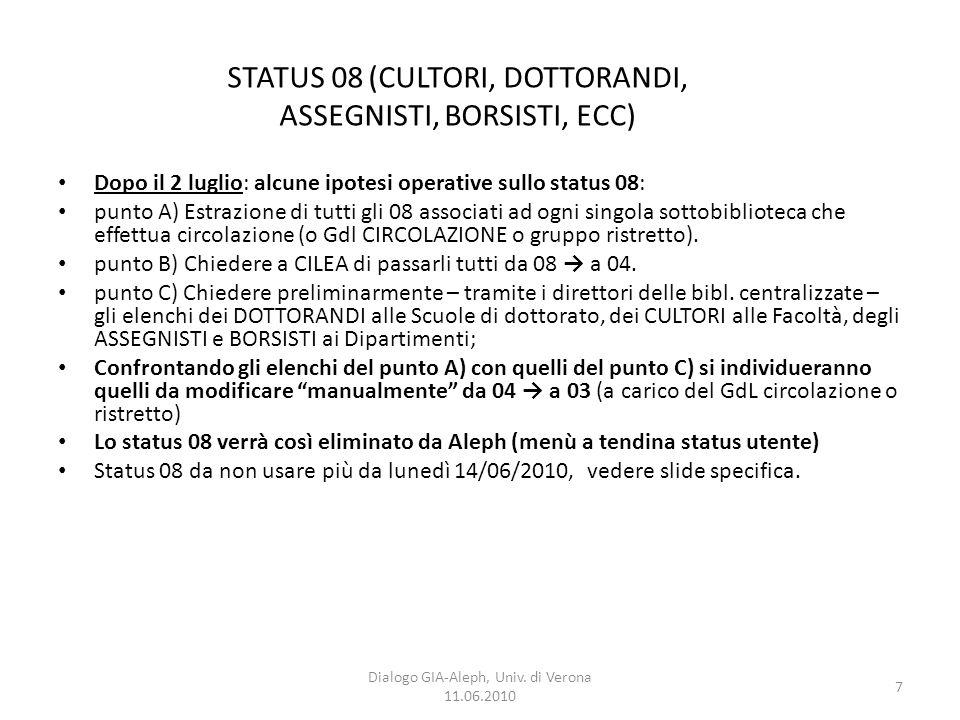 7 Dialogo GIA-Aleph, Univ. di Verona 11.06.2010 Dopo il 2 luglio: alcune ipotesi operative sullo status 08: punto A) Estrazione di tutti gli 08 associ