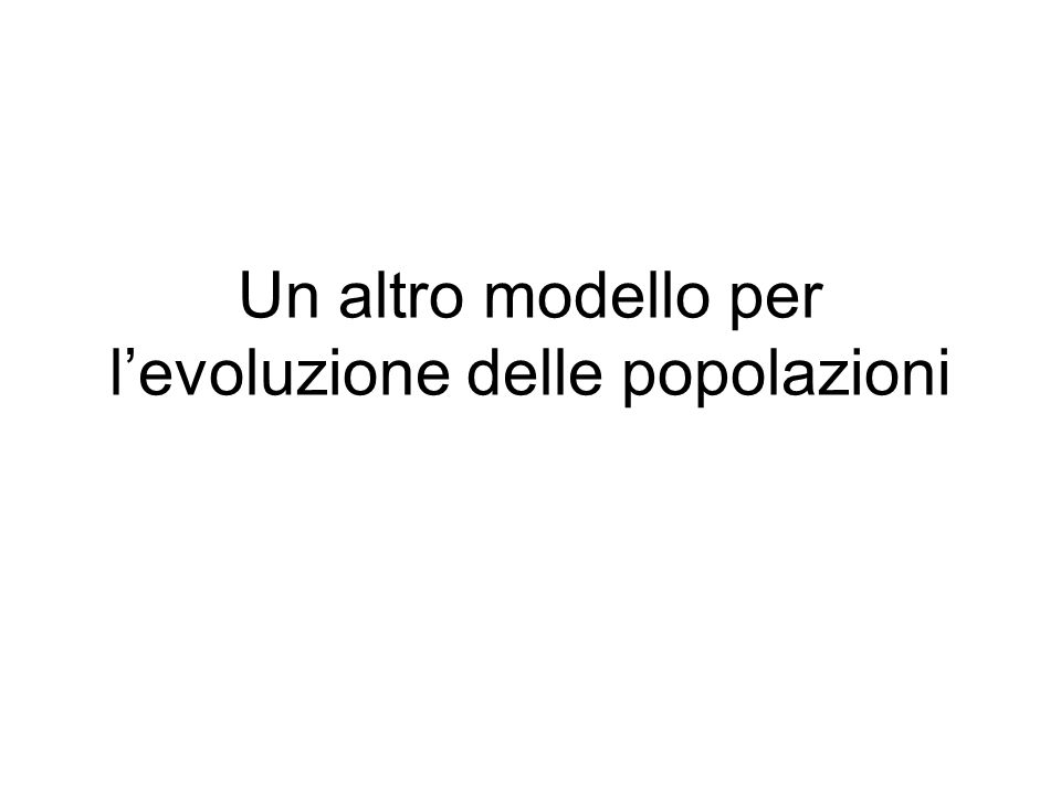 Un altro modello per l'evoluzione delle popolazioni