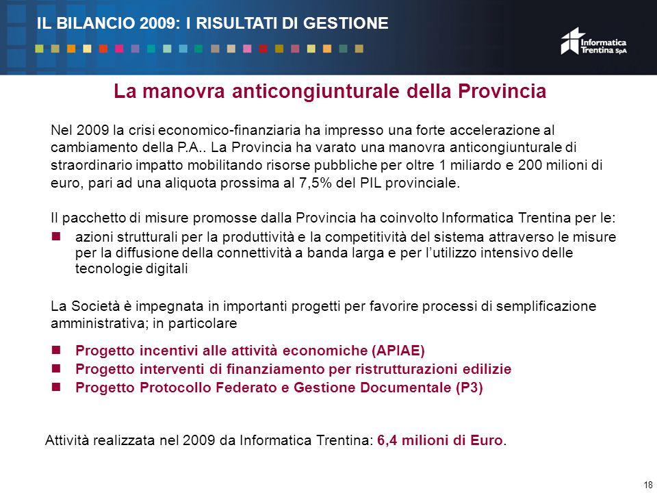 18 La manovra anticongiunturale della Provincia Nel 2009 la crisi economico-finanziaria ha impresso una forte accelerazione al cambiamento della P.A..
