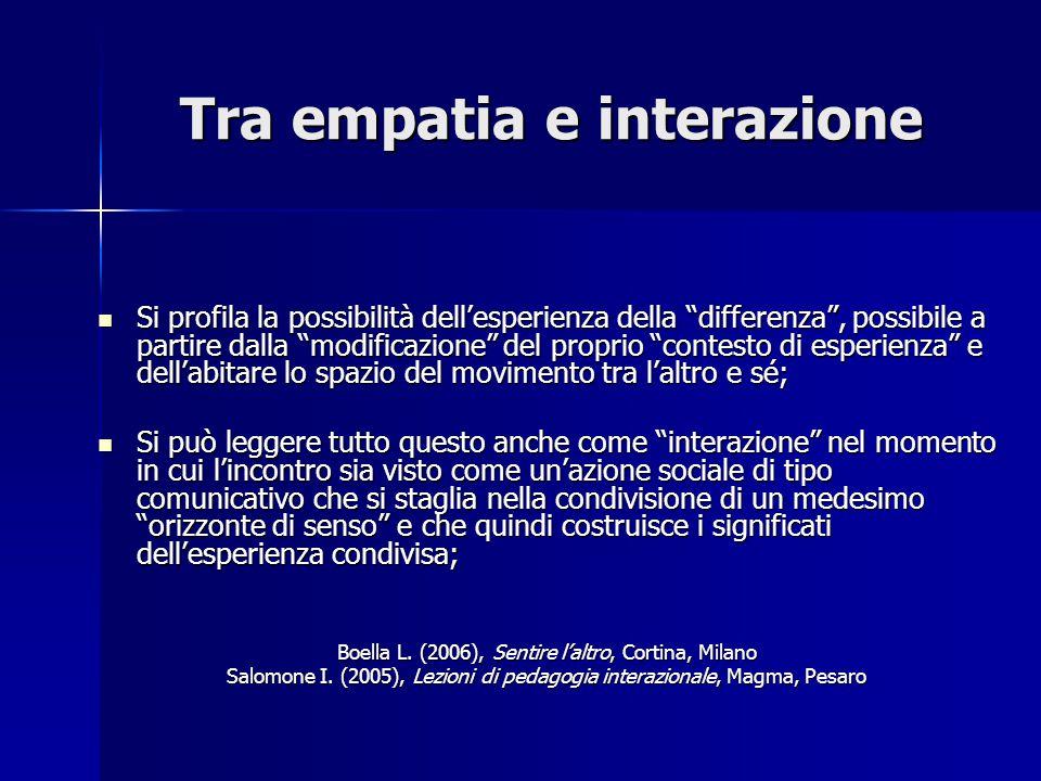 Tra empatia e interazione Si profila la possibilità dell'esperienza della differenza , possibile a partire dalla modificazione del proprio contesto di esperienza e dell'abitare lo spazio del movimento tra l'altro e sé; Si profila la possibilità dell'esperienza della differenza , possibile a partire dalla modificazione del proprio contesto di esperienza e dell'abitare lo spazio del movimento tra l'altro e sé; Si può leggere tutto questo anche come interazione nel momento in cui l'incontro sia visto come un'azione sociale di tipo comunicativo che si staglia nella condivisione di un medesimo orizzonte di senso e che quindi costruisce i significati dell'esperienza condivisa; Si può leggere tutto questo anche come interazione nel momento in cui l'incontro sia visto come un'azione sociale di tipo comunicativo che si staglia nella condivisione di un medesimo orizzonte di senso e che quindi costruisce i significati dell'esperienza condivisa; Boella L.