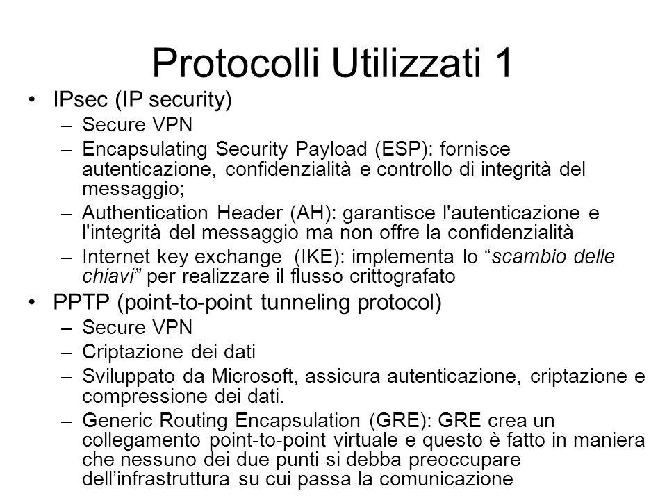 Protocolli Utilizzati 1 IPsec (IP security) –Secure VPN –Encapsulating Security Payload (ESP): fornisce autenticazione, confidenzialità e controllo di