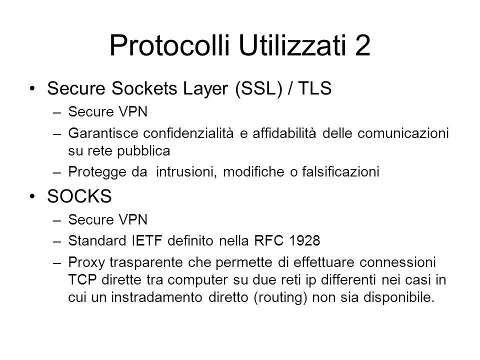 Protocolli Utilizzati 2 Secure Sockets Layer (SSL) / TLS –Secure VPN –Garantisce confidenzialità e affidabilità delle comunicazioni su rete pubblica –