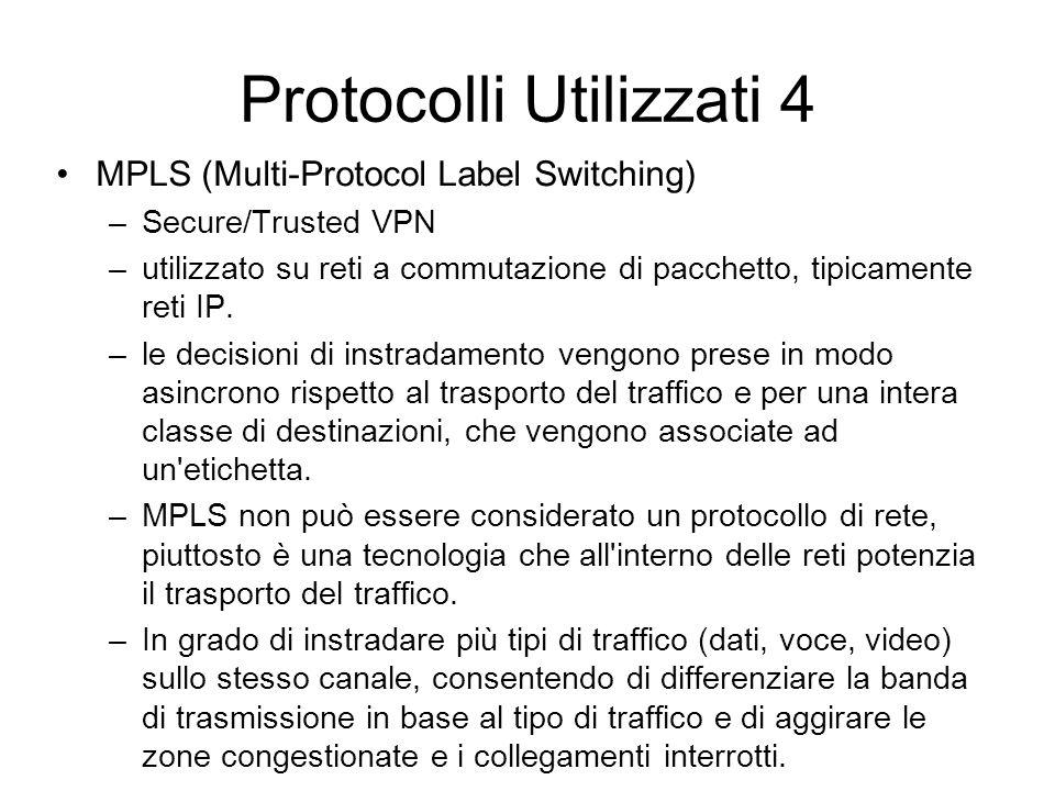 Protocolli Utilizzati 4 MPLS (Multi-Protocol Label Switching) –Secure/Trusted VPN –utilizzato su reti a commutazione di pacchetto, tipicamente reti IP