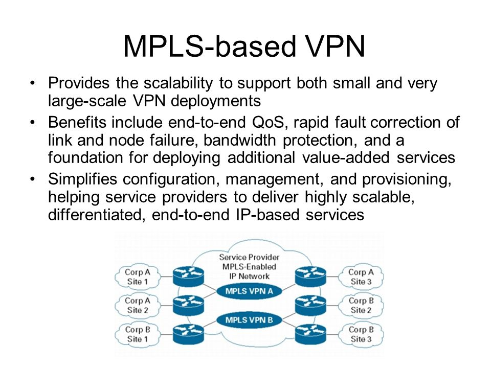MPLS-based VPN Provides the scalability to support both small and very large-scale VPN deployments Benefits include end-to-end QoS, rapid fault correc