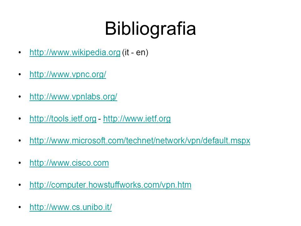 Bibliografia http://www.wikipedia.org (it - en)http://www.wikipedia.org http://www.vpnc.org/ http://www.vpnlabs.org/ http://tools.ietf.org - http://ww