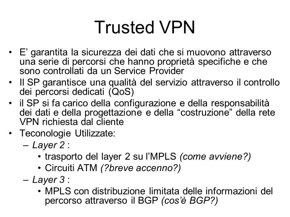 Secure VPN Il traffico viene criptato e questo crea un un Tunnel tra due reti/host Le Secure VPN hanno uno o più tunnel e ogni tunnel ha due estremità Una VPN per essere definita una secure VPN deve garantire: –un sistema di autenticazione –i dati devono viaggiare criptati –il livello di cripting dei dati deve essere elevato e modificabile nel tempo Tecnologie utilizzate (standard IETF) : –IPsec con criptazione in ogni Tunnel –IPsec interno a L2TP –SSL 3.0 o TLS