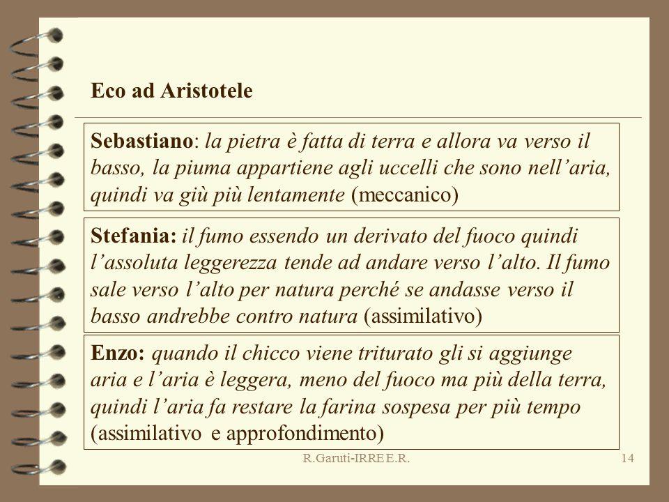R.Garuti-IRRE E.R.14 Eco ad Aristotele Sebastiano: la pietra è fatta di terra e allora va verso il basso, la piuma appartiene agli uccelli che sono ne