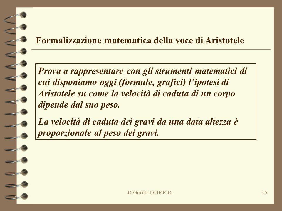 R.Garuti-IRRE E.R.15 Formalizzazione matematica della voce di Aristotele Prova a rappresentare con gli strumenti matematici di cui disponiamo oggi (formule, grafici) l'ipotesi di Aristotele su come la velocità di caduta di un corpo dipende dal suo peso.