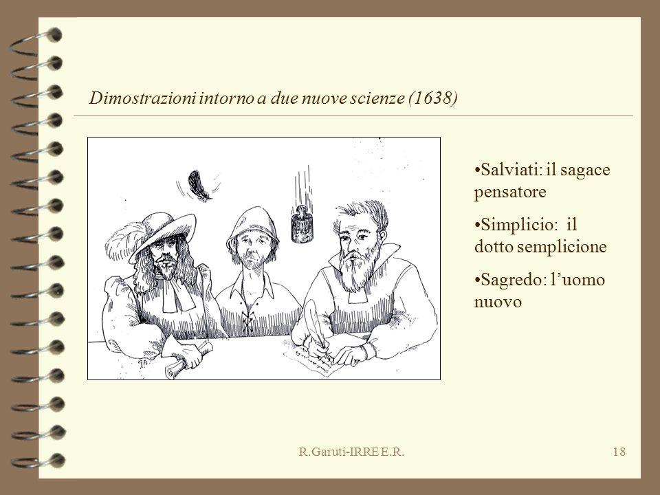 R.Garuti-IRRE E.R.18 Salviati: il sagace pensatore Simplicio: il dotto semplicione Sagredo: l'uomo nuovo Dimostrazioni intorno a due nuove scienze (1638)