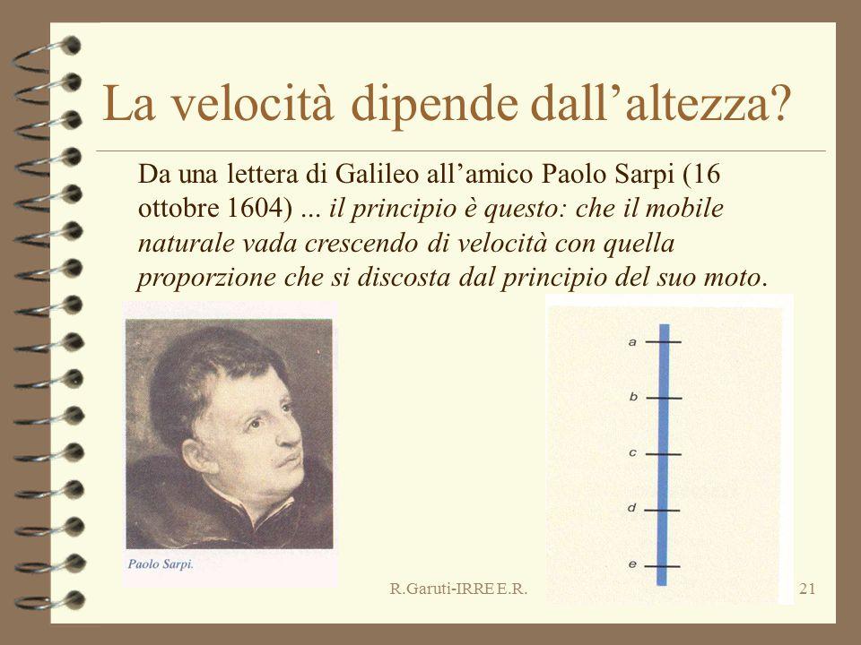 R.Garuti-IRRE E.R.21 La velocità dipende dall'altezza? Da una lettera di Galileo all'amico Paolo Sarpi (16 ottobre 1604)... il principio è questo: che