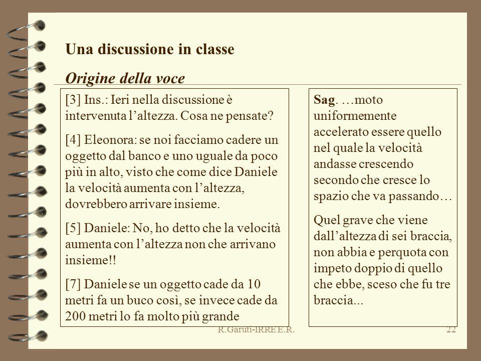 R.Garuti-IRRE E.R.22 Una discussione in classe Origine della voce [3] Ins.: Ieri nella discussione è intervenuta l'altezza. Cosa ne pensate? [4] Eleon