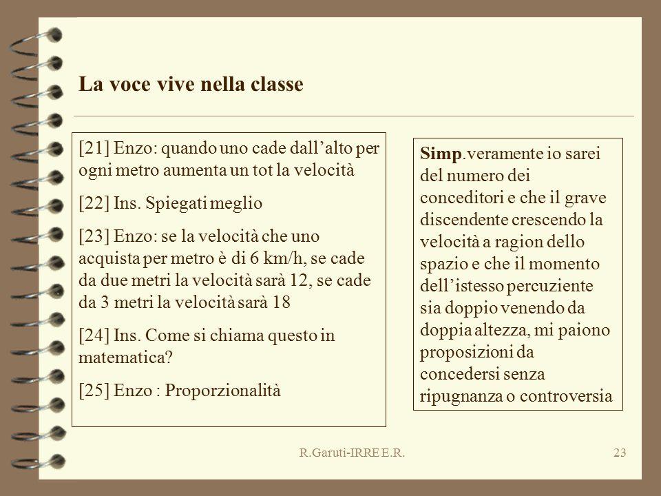 R.Garuti-IRRE E.R.23 La voce vive nella classe [21] Enzo: quando uno cade dall'alto per ogni metro aumenta un tot la velocità [22] Ins. Spiegati megli
