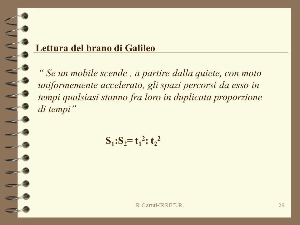 R.Garuti-IRRE E.R.29 Lettura del brano di Galileo Se un mobile scende, a partire dalla quiete, con moto uniformemente accelerato, gli spazi percorsi da esso in tempi qualsiasi stanno fra loro in duplicata proporzione di tempi S 1 :S 2 = t 1 2 : t 2 2