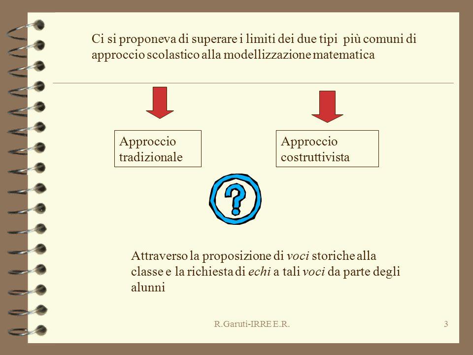 R.Garuti-IRRE E.R.3 Ci si proponeva di superare i limiti dei due tipi più comuni di approccio scolastico alla modellizzazione matematica Approccio tra