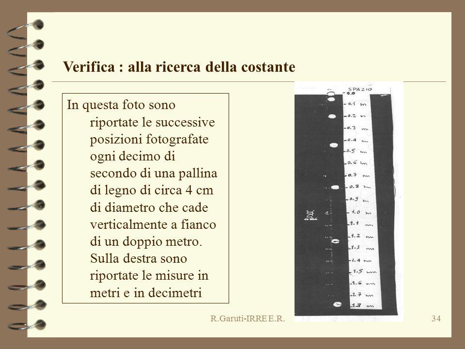 R.Garuti-IRRE E.R.34 Verifica : alla ricerca della costante In questa foto sono riportate le successive posizioni fotografate ogni decimo di secondo di una pallina di legno di circa 4 cm di diametro che cade verticalmente a fianco di un doppio metro.