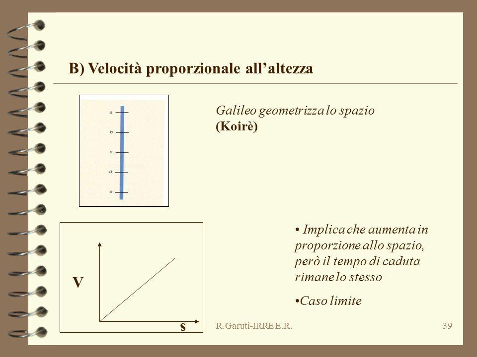 R.Garuti-IRRE E.R.39 V s Implica che aumenta in proporzione allo spazio, però il tempo di caduta rimane lo stesso Caso limite B) Velocità proporzional