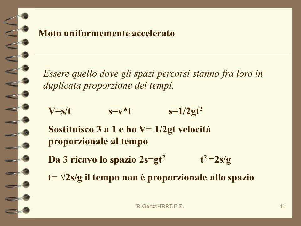 R.Garuti-IRRE E.R.41 Moto uniformemente accelerato Essere quello dove gli spazi percorsi stanno fra loro in duplicata proporzione dei tempi. V=s/ts=v*