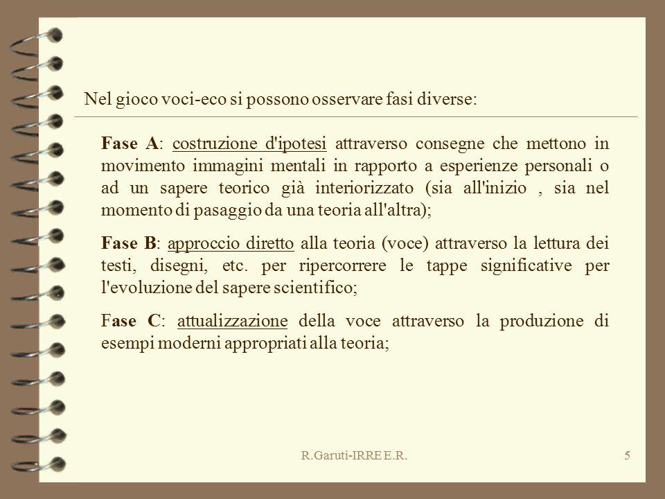 R.Garuti-IRRE E.R.5 Fase A: costruzione d'ipotesi attraverso consegne che mettono in movimento immagini mentali in rapporto a esperienze personali o a