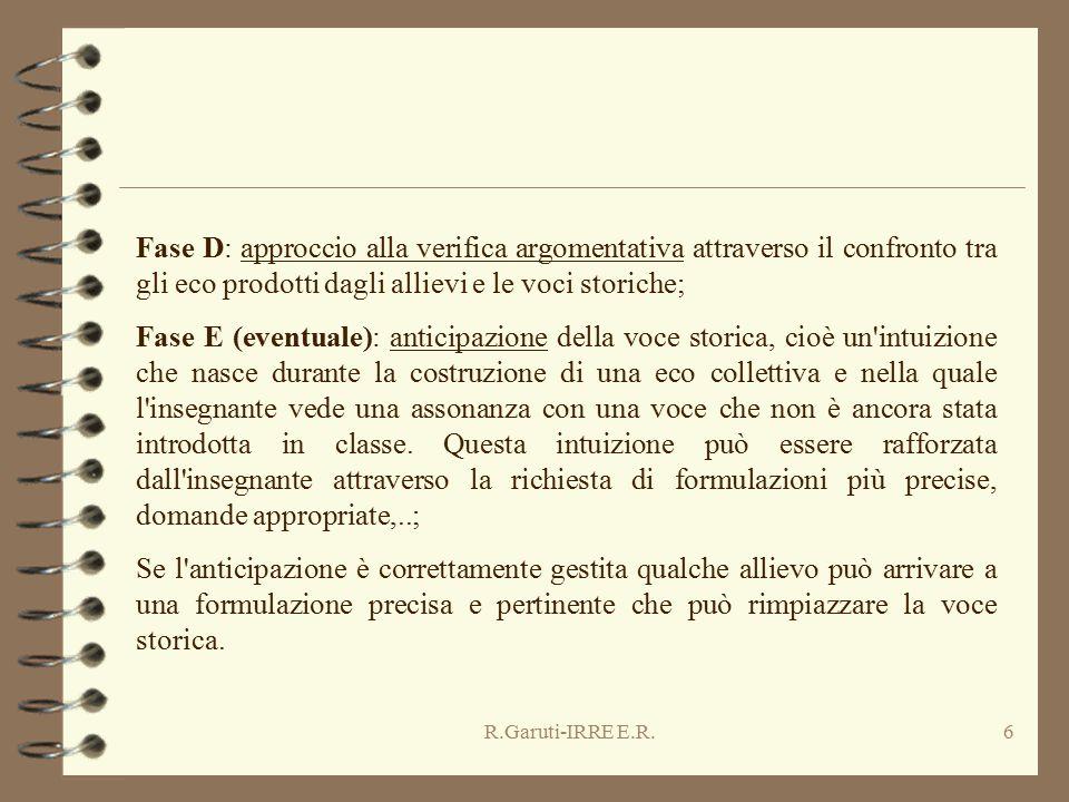 R.Garuti-IRRE E.R.6 Fase D: approccio alla verifica argomentativa attraverso il confronto tra gli eco prodotti dagli allievi e le voci storiche; Fase