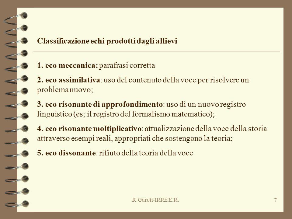 R.Garuti-IRRE E.R.7 1. eco meccanica: parafrasi corretta 2. eco assimilativa: uso del contenuto della voce per risolvere un problema nuovo; 3. eco ris