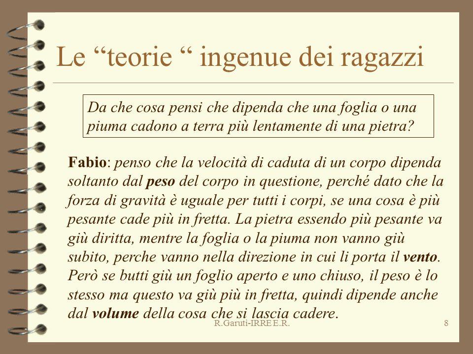 """R.Garuti-IRRE E.R.8 Le """"teorie """" ingenue dei ragazzi Da che cosa pensi che dipenda che una foglia o una piuma cadono a terra più lentamente di una pie"""
