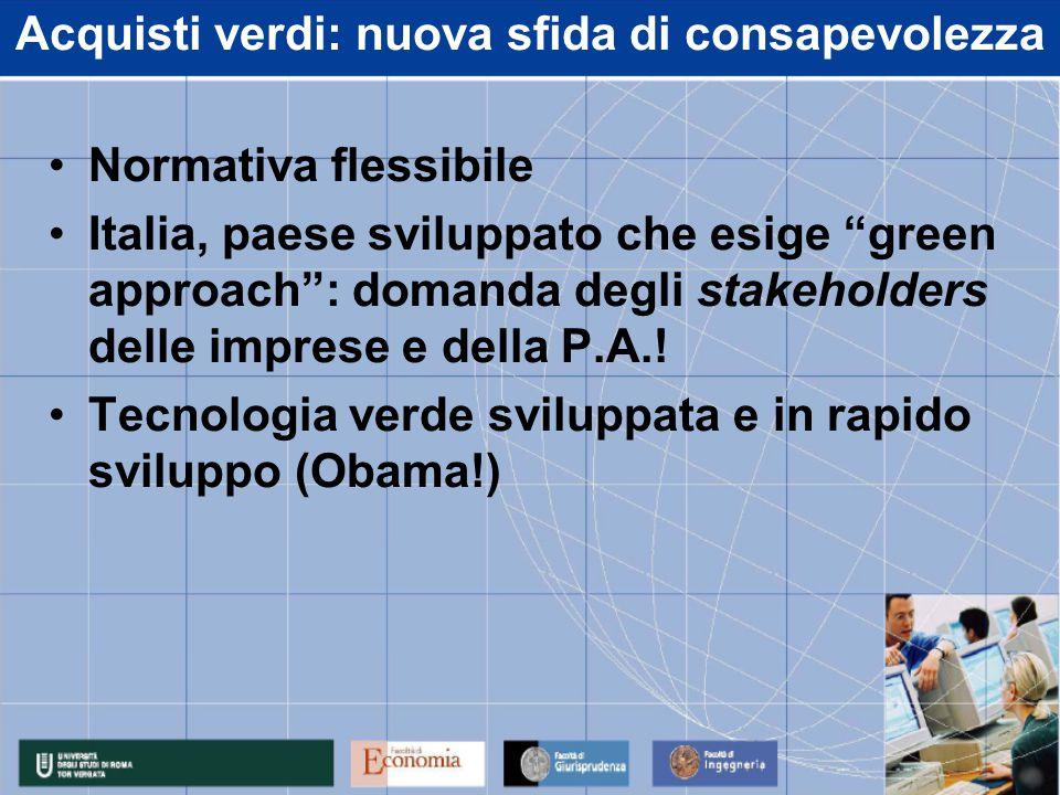 """Acquisti verdi: nuova sfida di consapevolezza Normativa flessibile Italia, paese sviluppato che esige """"green approach"""": domanda degli stakeholders del"""