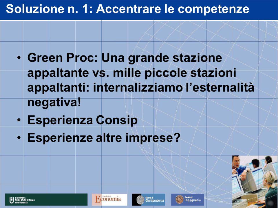 Soluzione n. 1: Accentrare le competenze Green Proc: Una grande stazione appaltante vs. mille piccole stazioni appaltanti: internalizziamo l'esternali