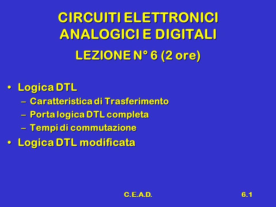 C.E.A.D.6.1 CIRCUITI ELETTRONICI ANALOGICI E DIGITALI LEZIONE N° 6 (2 ore) Logica DTLLogica DTL –Caratteristica di Trasferimento –Porta logica DTL com