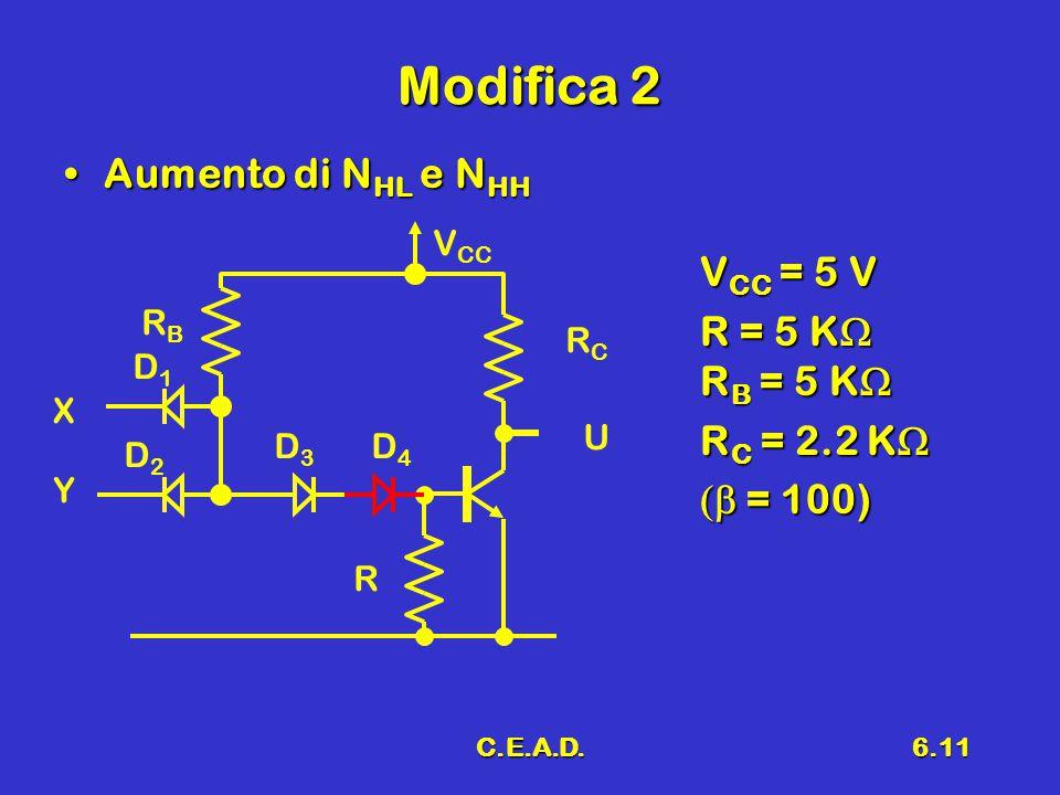 C.E.A.D.6.11 Modifica 2 Aumento di N HL e N HHAumento di N HL e N HH V CC = 5 V R = 5 K  R B = 5 K  R C = 2.2 K   = 100) D1D1 D2D2 X RBRB Y V CC