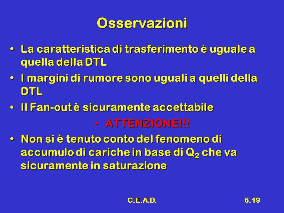 C.E.A.D.6.19 Osservazioni La caratteristica di trasferimento è uguale a quella della DTLLa caratteristica di trasferimento è uguale a quella della DTL