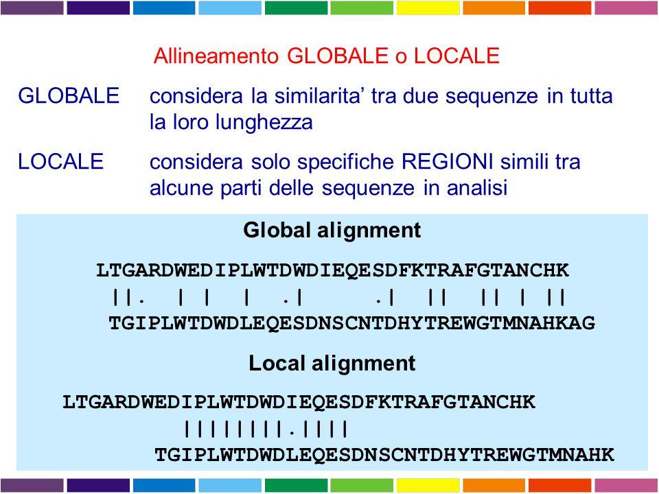 Allineamento GLOBALE o LOCALE GLOBALEconsidera la similarita' tra due sequenze in tutta la loro lunghezza LOCALE considera solo specifiche REGIONI simili tra alcune parti delle sequenze in analisi Global alignment LTGARDWEDIPLWTDWDIEQESDFKTRAFGTANCHK ||.