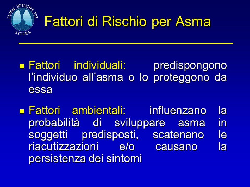 Fattori di Rischio per Asma Fattori individuali: predispongono l'individuo all'asma o lo proteggono da essa Fattori ambientali: influenzano la probabi