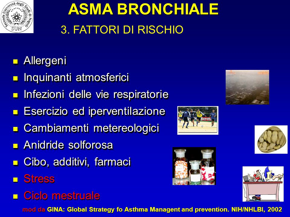 Allergeni Allergeni Inquinanti atmosferici Inquinanti atmosferici Infezioni delle vie respiratorie Infezioni delle vie respiratorie Esercizio ed iperventilazione Esercizio ed iperventilazione Cambiamenti metereologici Cambiamenti metereologici Anidride solforosa Anidride solforosa Cibo, additivi, farmaci Cibo, additivi, farmaci Stress Ciclo mestruale Allergeni Allergeni Inquinanti atmosferici Inquinanti atmosferici Infezioni delle vie respiratorie Infezioni delle vie respiratorie Esercizio ed iperventilazione Esercizio ed iperventilazione Cambiamenti metereologici Cambiamenti metereologici Anidride solforosa Anidride solforosa Cibo, additivi, farmaci Cibo, additivi, farmaci Stress Ciclo mestruale mod da GINA: Global Strategy fo Asthma Managent and prevention.
