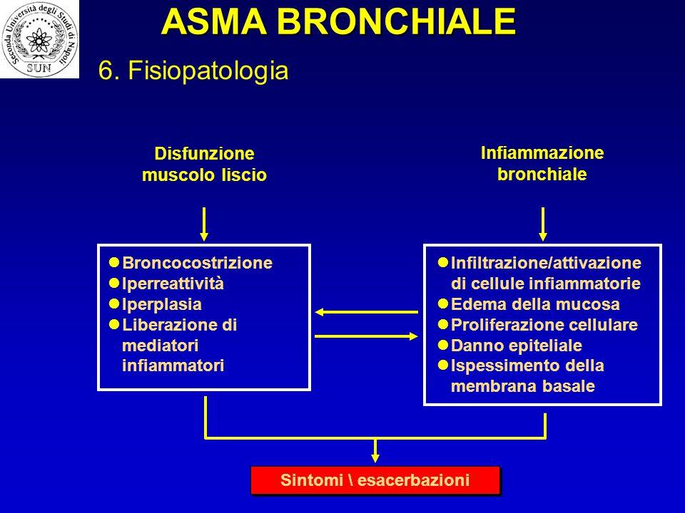 Disfunzione muscolo liscio Infiammazione bronchiale Infiltrazione/attivazione di cellule infiammatorie Edema della mucosa Proliferazione cellulare Dan