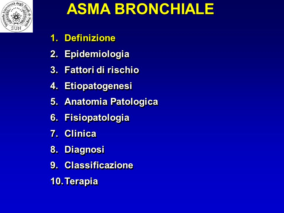 1.Definizione 2.Epidemiologia 3.Fattori di rischio 4.Etiopatogenesi 5.Anatomia Patologica 6.Fisiopatologia 7.Clinica 8.Diagnosi 9.Classificazione 10.T
