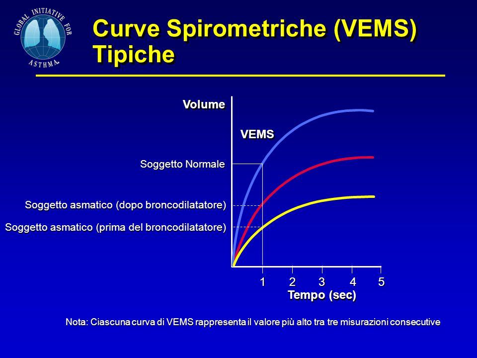 Curve Spirometriche (VEMS) Tipiche 1 Tempo (sec) 2345 VEMS Volume Soggetto Normale Soggetto asmatico (dopo broncodilatatore) Soggetto asmatico (prima