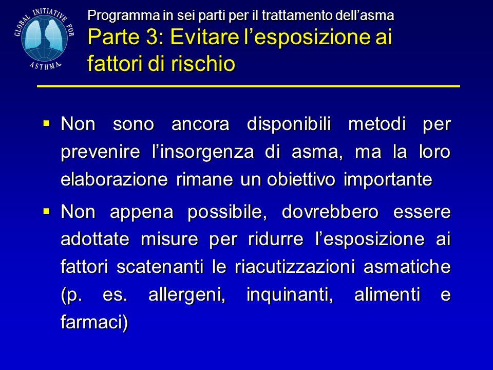 Programma in sei parti per il trattamento dell'asma Parte 3: Evitare l'esposizione ai fattori di rischio  Non sono ancora disponibili metodi per prev