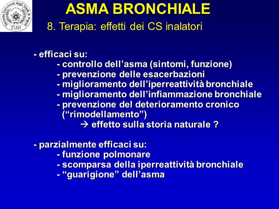 - efficaci su: - controllo dell'asma (sintomi, funzione) - prevenzione delle esacerbazioni - miglioramento dell'iperreattività bronchiale - migliorame
