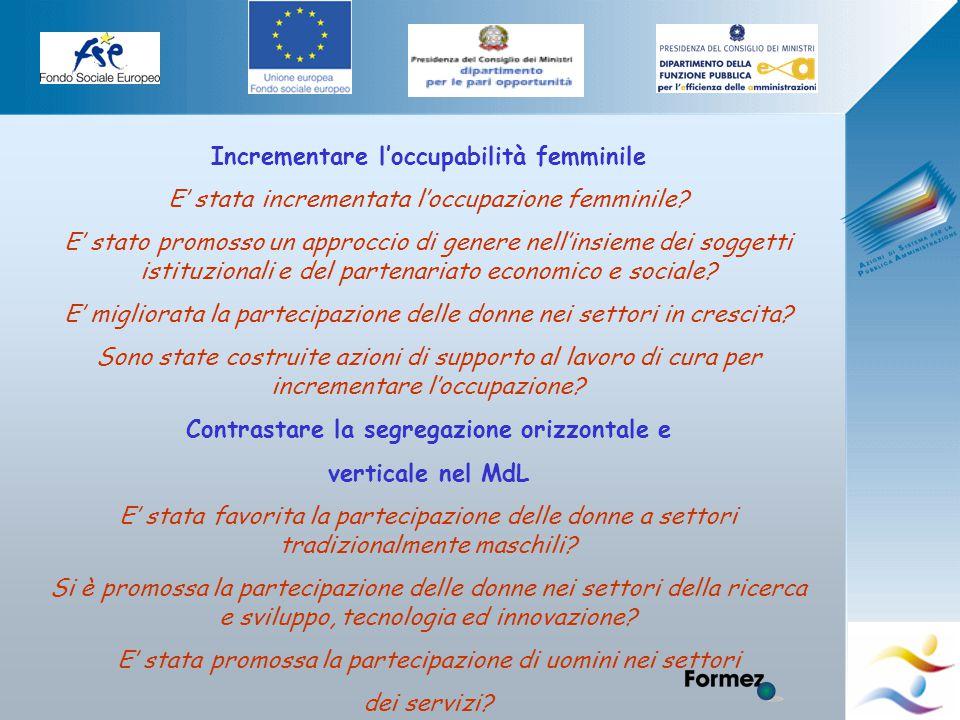 Elena Murtas -Campobasso- Incrementare l'occupabilità femminile E' stata incrementata l'occupazione femminile.