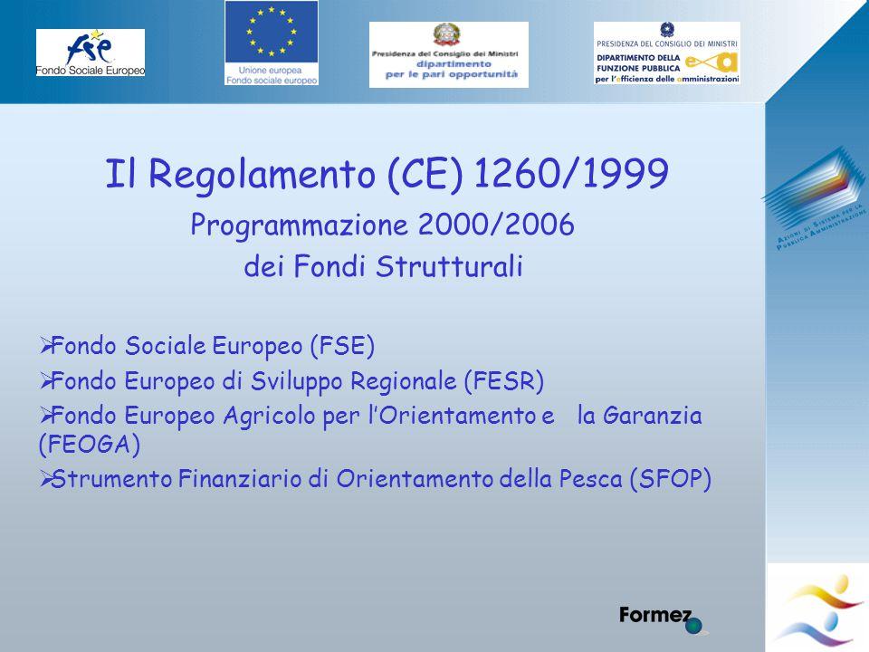 Elena Murtas -Campobasso- Il Regolamento (CE) 1260/1999 Programmazione 2000/2006 dei Fondi Strutturali  Fondo Sociale Europeo (FSE)  Fondo Europeo di Sviluppo Regionale (FESR)  Fondo Europeo Agricolo per l'Orientamento e la Garanzia (FEOGA)  Strumento Finanziario di Orientamento della Pesca (SFOP)