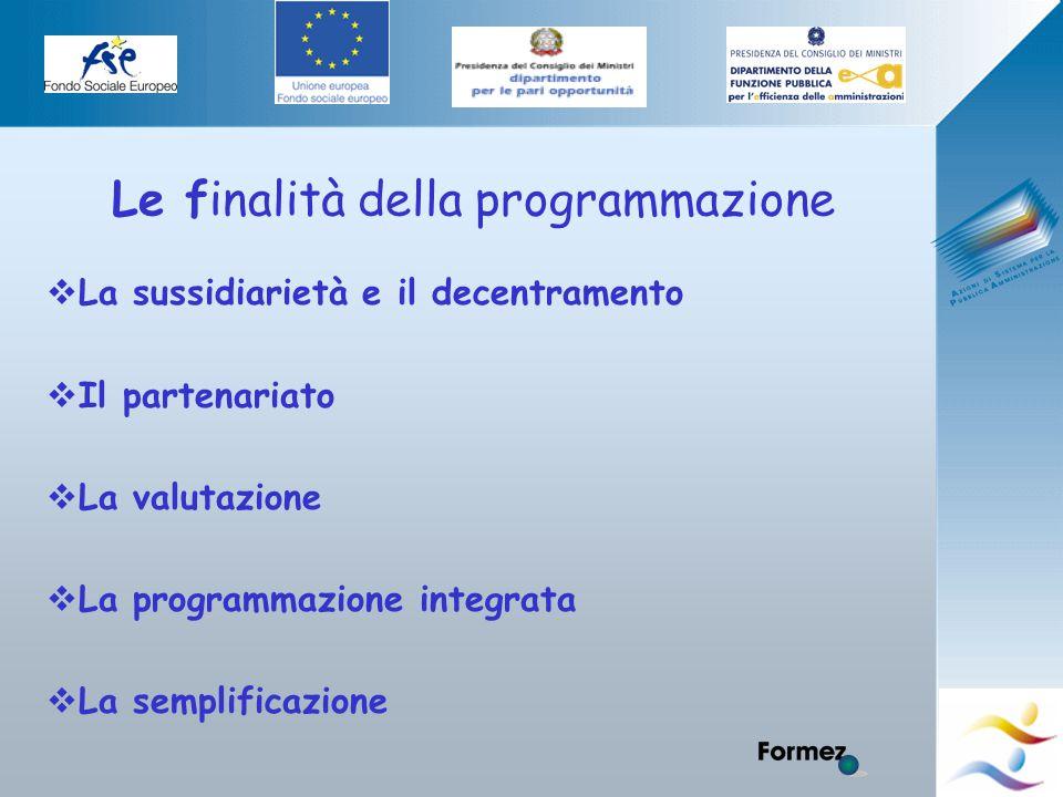 Elena Murtas -Campobasso- Le finalità della programmazione  La sussidiarietà e il decentramento  Il partenariato  La valutazione  La programmazione integrata  La semplificazione