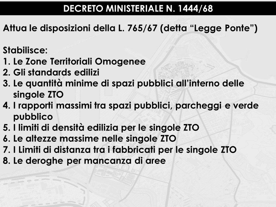 """DECRETO MINISTERIALE N. 1444/68 Attua le disposizioni della L. 765/67 (detta """"Legge Ponte"""") Stabilisce: 1.Le Zone Territoriali Omogenee 2.Gli standard"""