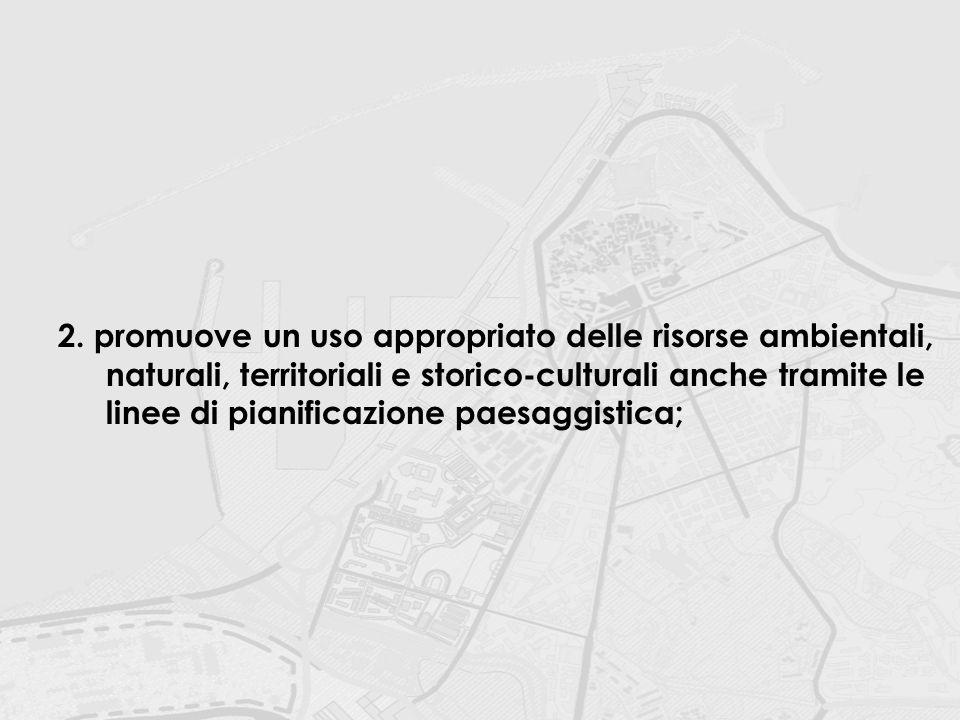2.promuove un uso appropriato delle risorse ambientali, naturali, territoriali e storico-culturali anche tramite le linee di pianificazione paesaggist